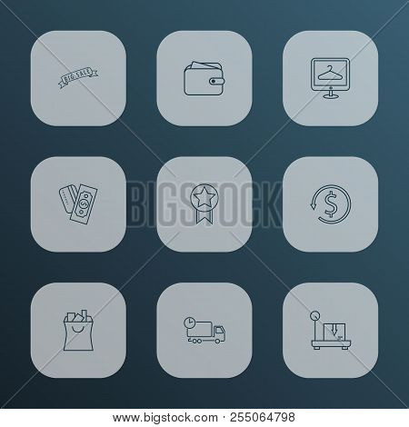 Ecommerce Icons Line Style Set With Big Sale, Quality, Ecommerce And Other Discount Elements. Isolat