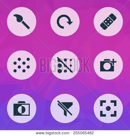 Photo Icons Set With Add A Photo, Brush, Circle And Other Photographing Elements. Isolated  Illustra