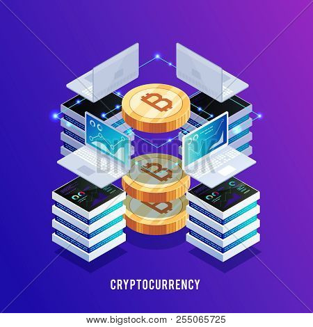 Isometric Concept Of Mining Bitcoin. Earning Bitcoin. Laptops And Servers For Earning Bitcoin. 3d Bi