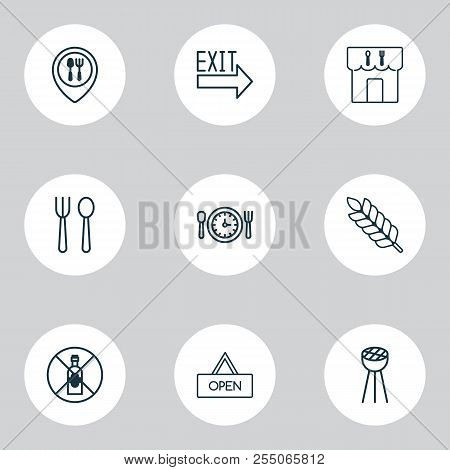 Restaurant Icons Set With Silverware, Lunch Time, Restaurant Location And Other Food Mapping Element