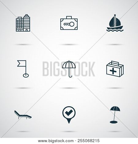 Tourism Icons Set Vector Photo Free