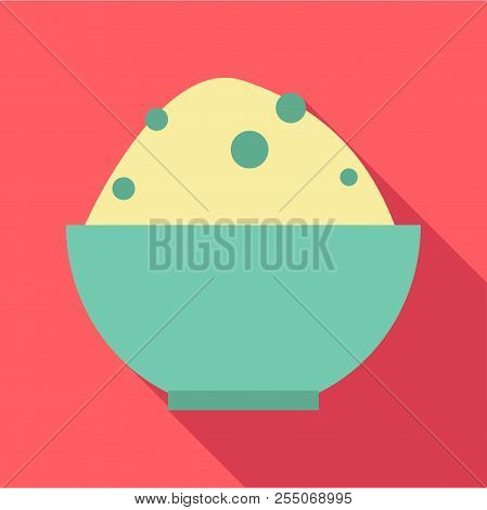 Rice In Bowl Icon. Flat Illustration Of Rice In Bowl Icon For Web