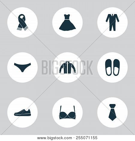 Dress Icons Set With Gumshoes, Bra, Scarf And Other Brasserie Elements. Isolated  Illustration Dress