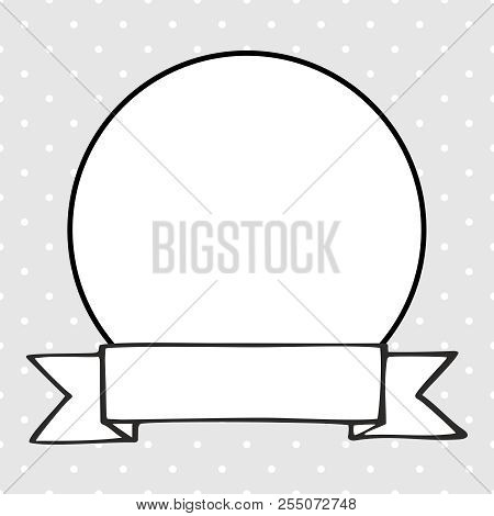 Hand Drawn Vector Decorative Frame On Polka Dots Grey Background