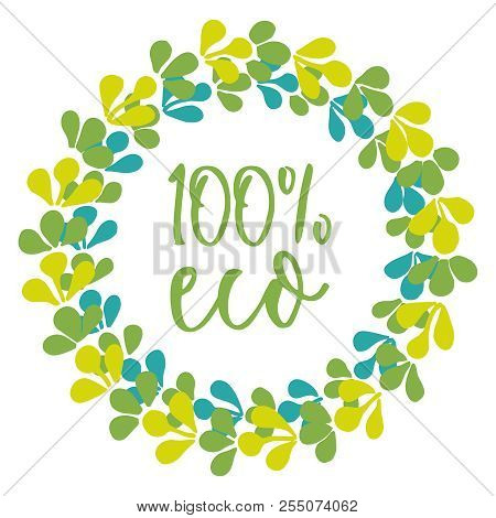 Eco Floral Vector Wreath Isolated On White Background