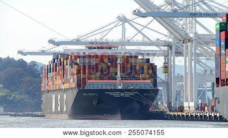 Oakland, Ca - April 09, 2018: Cargo Ship Msc Beryl Loading At The Port Of Oakland. Mediterranean Shi
