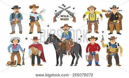 Cowboy Vector Western Cow Boy On Wildly Horse Character For Rodeo And Wild West Sheriff In Hat Illus