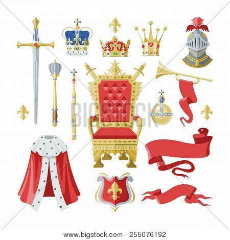 Royalty vector golden royal crown symbol of king queen and princess illustration sign of crowning prince authority set of knightman helmet and throne isolated on white background poster