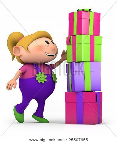 Girl Stacking Presents
