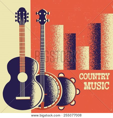 Country Music Poster Background With Musical Instruments And Decoration