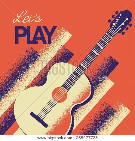 Music Poster With Acoustic Guitar.vector Background With Text
