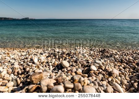 Pebble Stones On A Beach By The Mediterranean Sea