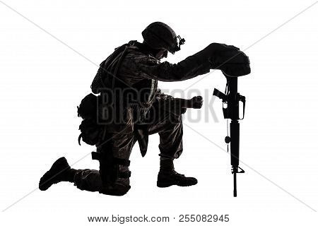 Sad Soldier Kneeling Because Of Friend Death