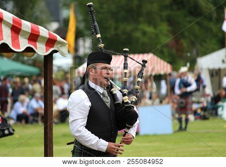 Crieff, Scotland, 21 July 2018: Unknown Competitors During The Piping Competition At The Lochearnhea