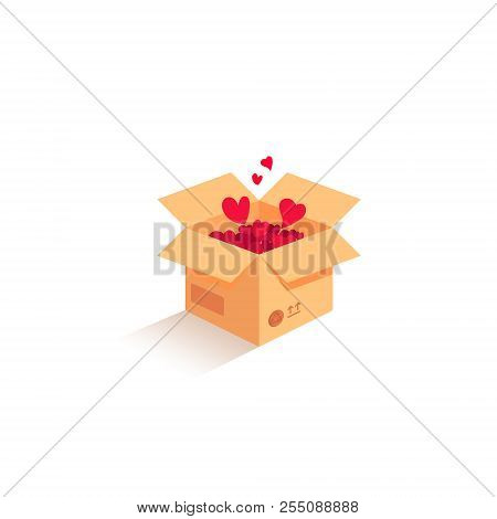 Love Is In The Air. Vector Love Box. Surprise Box. Isometric Box