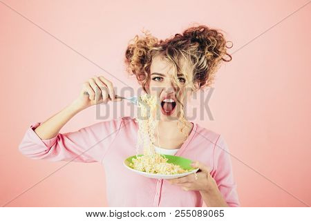 Woman Eating Noodles. Beautiful Woman Eating Pasta From Plate. Beautiful Girl Eating Instant Noodle.