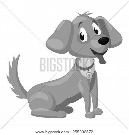 Puppy Icon. Gray Monochrome Illustration Of Puppy Icon For Web