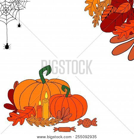 Vector Template Dedicated To The Autumn Holidays: Halloween Or Thankgiving Day. Doodle Design, Templ