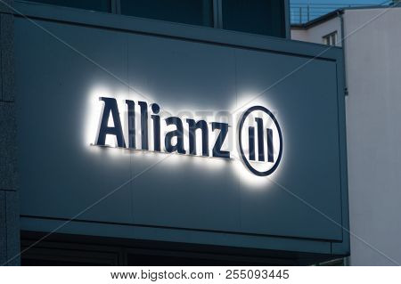 Berlin, Germany - August 15, 2018: Lighted Allianz Logo And Sign In Berlin. Allianz Is A European Fi