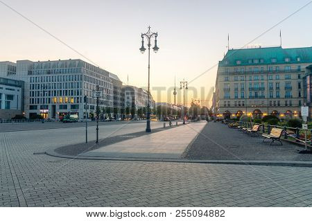 Berlin, Germany - August 16, 2018: Morning View Of Berlin With Television Tower From Pariser Platz.