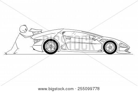 Cartoon Stick Drawing Conceptual Illustration Of Comparison Of Two Men Or Businessmen. Successful An