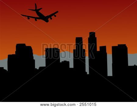 Plane Flying Over Los Angeles