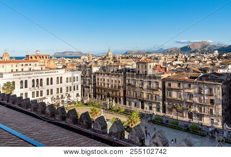 Palermo, Sicily, Italy - October 8, 2017: View Of Palermo Cityscape From The Cathedral Roof In Paler