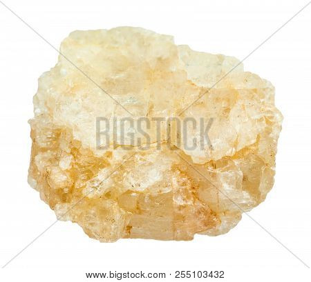 Macro Shooting Of Natural Mineral - Rough Topaz Stone Isolated On White Backgroung From Ilmenskoe De