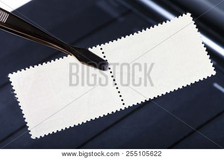 Philately Concept - Tongs Keeps Double Postage Stamp With Mint Back Side