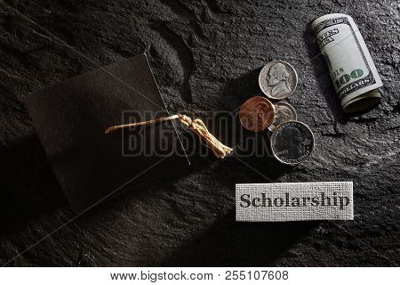 Scholarship Message With Graduation Cap And Money