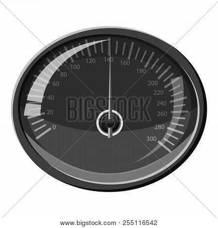 Speedometer 140 Km In Hour Icon. Gray Monochrome Illustration Of Speedometer 140 Km In Hour Icon For