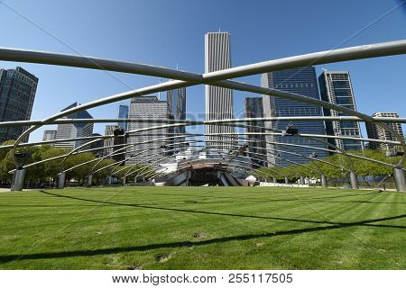Jay Pritzker Pavilion In Millennium Park With Aon Center, Prudential Plaza And Crains Communications