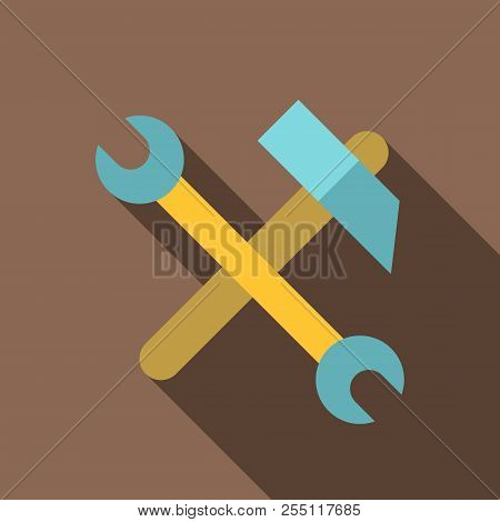 Hammer And Wrench Icon. Flat Illustration Of Hammer And Wrench Icon For Web