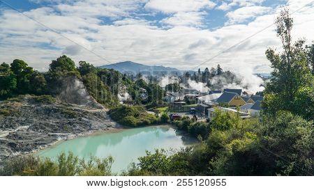 Interesting Whakarewarewa Māori Village In Geothermal Valley, New Zealand