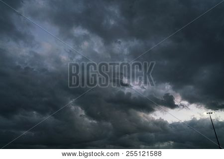 Storm Cloud And Street Lamp Before Thunder Storm