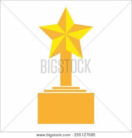 Winner Trophy Award Gold Star On The Stand Cartoon Flat Icon Element For Sport Award Trophy Design