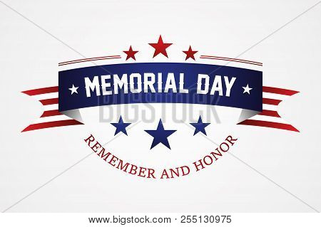 Memorial Day - American Flag Ribbon With Lettering Memorial Day. Memorial Day Retro Poster Card Cele