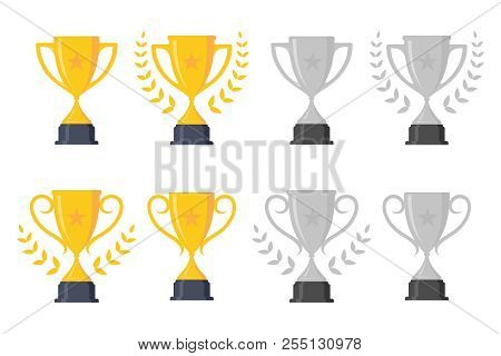 Set Simple Icon Trophy Cup Design Element. Flat Icon Vector Trophy. Vector Illustration Eps.8 Eps.10