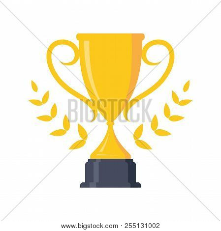 Best Concept Design Trophy For Victory Award Championship Achievement. Flat Icon Vector Trophy. Vect