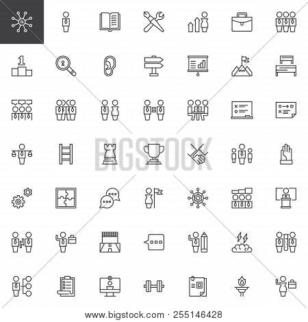 Teamwork Outline Icons Set. Linear Style Symbols Collection, Line Signs Pack. Vector Graphics. Set I
