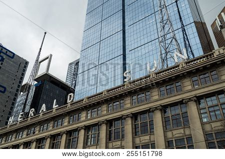 Melbourne, Australia - August 8, 2015: The Herald And Weekly Times Building On Exhibition And Flinde