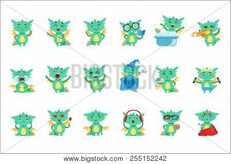 Little Dragon Cute Emoji Set. Cute Detailed Stickers With Childish Fantastic Animal In Funny Situati