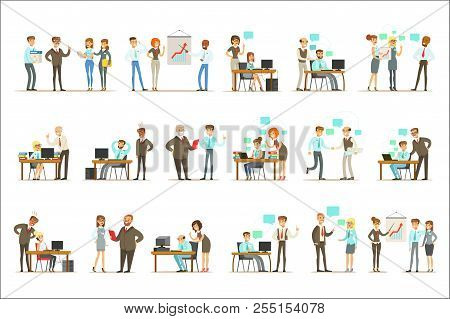 Big Boss Managing And Supervising The Work Of Office Employees Set Of Top Manager And Workers Illust