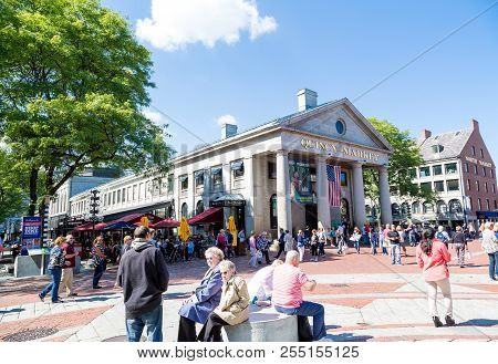 Boston, Massachusetts - September 18, 2014: Quincy Market Is An Historic Marketplace Near Faneuil Ha