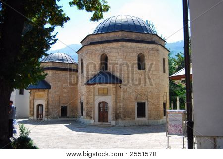 Turrret in Gazi Husref Bey Mosque Sarajevo poster