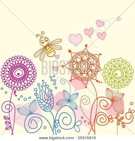 Garden love story: cartoon bee and flowers