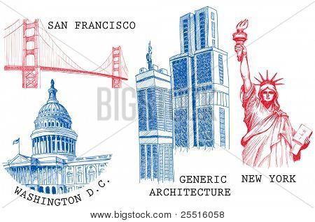 USA famous cities architecture and landmarks sketches: New York (Statue of Liberty), San Francisco (Golden Gate), Washington D.C. (United States Capitol)