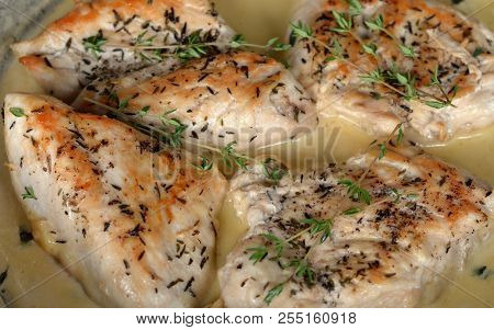 Creamy Chicken Breast With Oregano And Thyme: Close-up Of Ketogenic, Low Carbohydrate Entree, Select