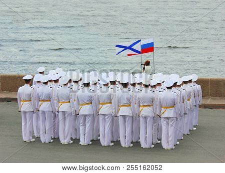 Naval Officers Of Russian Army In White Formal Uniform At Navy Parade Rehearsal In St. Petersburg, R