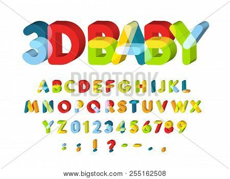 3d Alphabet For Baby Zone Decoration. Kids Zone Vector Font. Caolorful Funny 3d Letters
